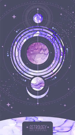 Modern magic witchcraft card with planets in outer space. Alcohol ink occult illustration Ilustrace