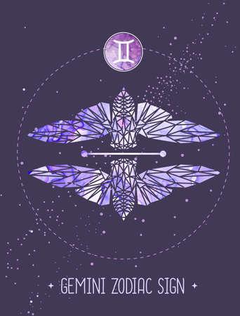 Modern magic witchcraft card with polygon astrology Gemini zodiac sign. Polygonal butterfly or cicada illustration