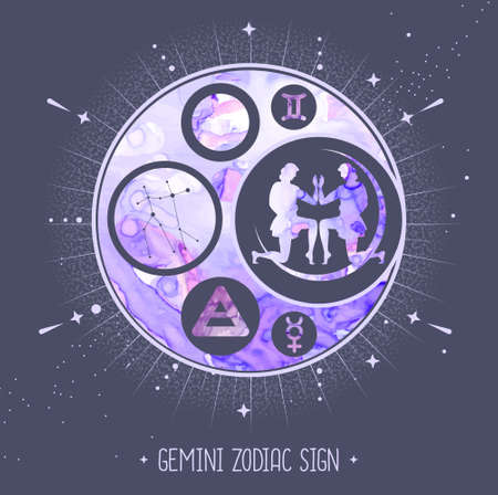 Modern magic witchcraft card with astrology Gemini zodiac sign. Alcohol ink background. Zodiac characteristic