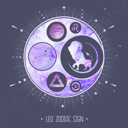 Modern magic witchcraft card with astrology Leo zodiac sign. Alcohol ink background. Zodiac characteristic Ilustrace