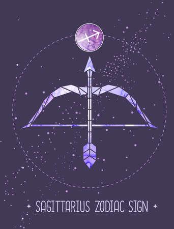 Modern magic witchcraft card with polygonal astrology Sagittarius zodiac sign. Polygonal Bow and arrow illustration