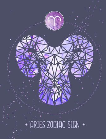 Modern magic witchcraft card with astrology Aries zodiac sign. Ram or mouflon head in polygonal style Ilustrace