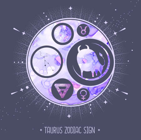Modern magic witchcraft card with astrology Taurus zodiac sign. Alcohol ink background. Zodiac characteristic