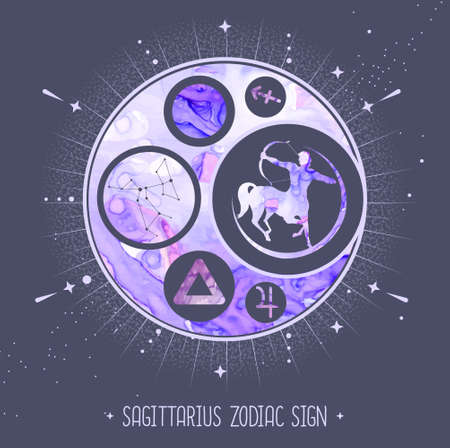 Modern magic witchcraft card with astrology Sagittarius zodiac sign. Alcohol ink background. Zodiac characteristic
