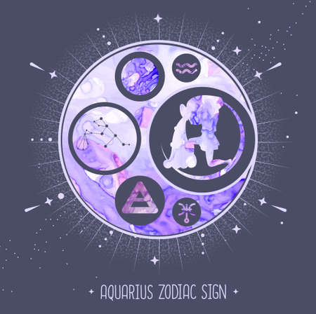 Modern magic witchcraft card with astrology Aquarius zodiac sign. Alcohol ink background. Zodiac characteristic