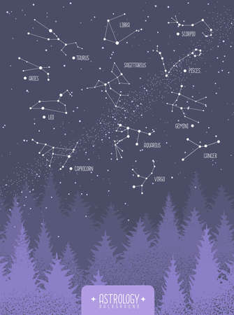 Modern magic witchcraft card with zodiac constellations in the night sky. Vector illustration Illustration