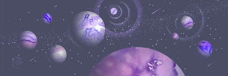 Modern magic witchcraft card with planets in outer space. Alcohol ink occult illustration Illustration