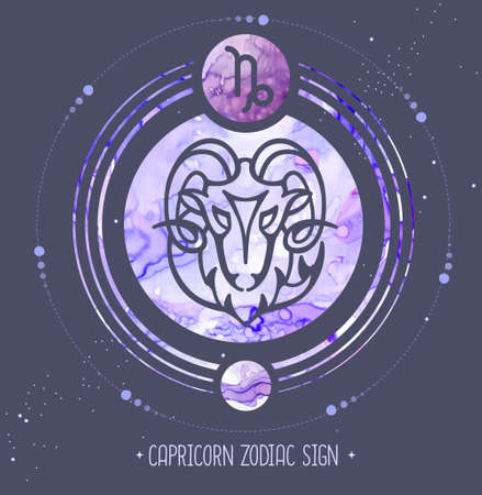 Modern magic witchcraft card with astrology Capricorn zodiac sign. Alcohol ink background. Zodiac characteristic Illustration