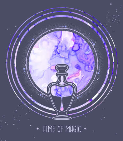 Modern magic witchcraft card with full moon and glass bottle on space background. Alcohol ink occult illustration