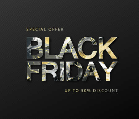Typography Black friday big sale banner with Alcohol ink texture. Marble black and gold artistic background