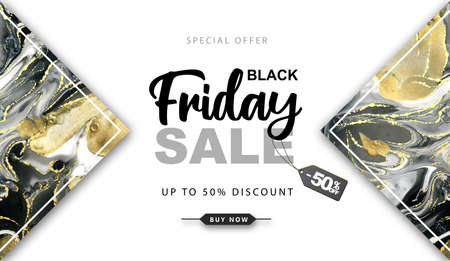 Black friday big sale banner with Alcohol ink texture. Marble black and gold artistic background