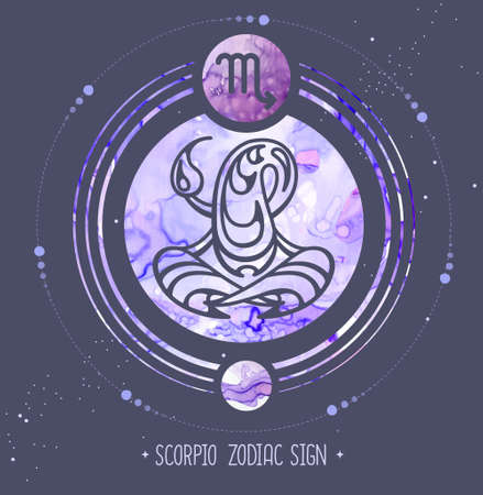 Modern magic witchcraft card with astrology Scorpio zodiac sign. Alcohol ink background. Zodiac characteristic