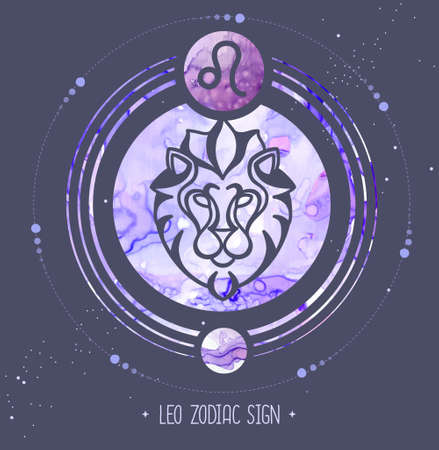 Modern magic witchcraft card with astrology Leo zodiac sign. Alcohol ink background. Zodiac characteristic Illustration