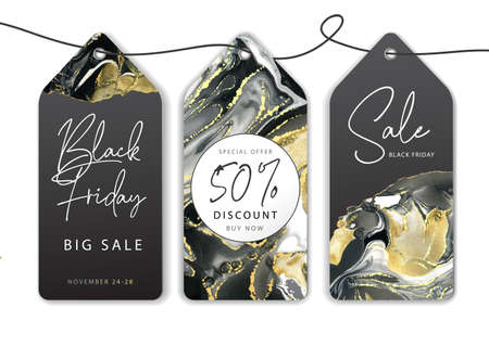 Set of Black friday big sale banners with Alcohol ink texture. Marble black and gold artistic background