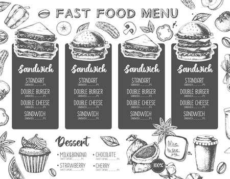 Restaurant sandwich menu design. Decorative sketch of sandwiches. Fast food menu