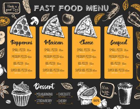 Restaurant pizza menu design. Decorative sketch of pizza. Fast food menu