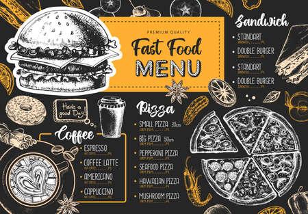 Restaurant menu design. Decorative sketch of pizza, sandwich and dessert. Fast food menu