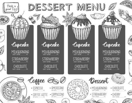 Restaurant dessert menu design. Decorative sketch of cupcakes and donuts. Sweet menu
