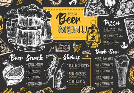 Restaurant beer menu design. Decorative sketch of beer and seafood snack. Fast food menu Vector Illustration