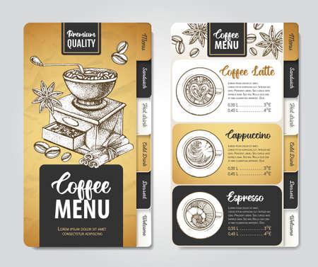 Restaurant Coffee menu design. Decorative sketch of cup of coffee or tea.