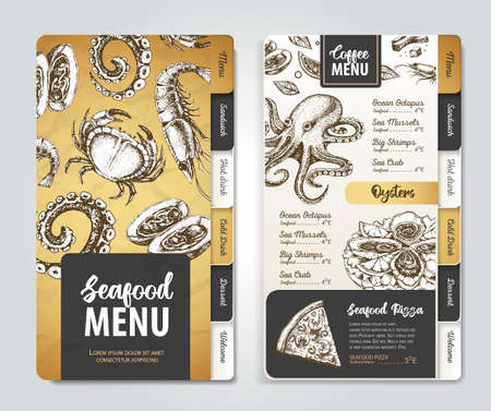 Restaurant seafood menu design. Decorative sketch of seafood. Fast food menu