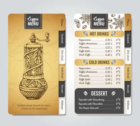 Restaurant Coffee menu design. Decorative sketch of coffee grinder