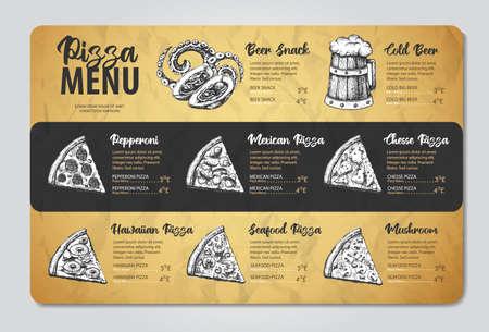 Restaurant pizza menu design. Decorative sketch of pizza. Fast food menu Imagens - 166971093