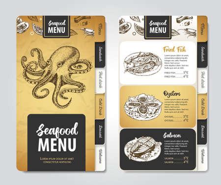 Restaurant seafood menu design. Decorative sketch of seafood. Fast food menu Иллюстрация
