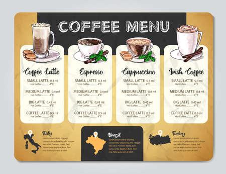 Restaurant Coffee menu design. Decorative sketch of cup of coffee or tea. Imagens - 167143989