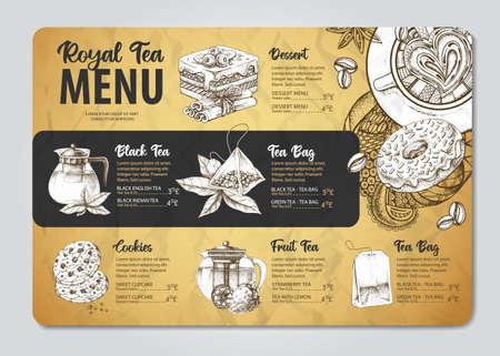 Restaurant Royal Tea menu design. Decorative sketch of teapot. Vintage style