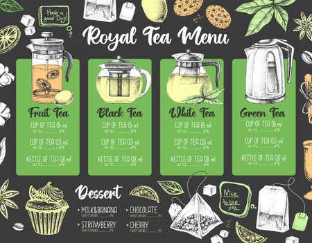 Hand drawing artistic Restaurant Royal Tea menu design. Decorative sketch of teapot. Vintage style