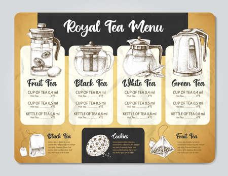 Restaurant Tea menu design. Decorative sketch of teapot. Different kinds of teapots Иллюстрация