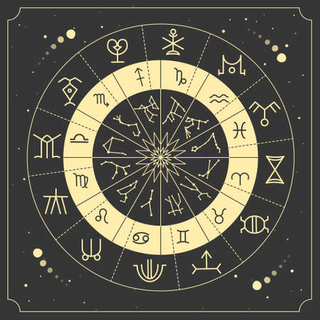 Modern magic witchcraft Astrology wheel with zodiac signs