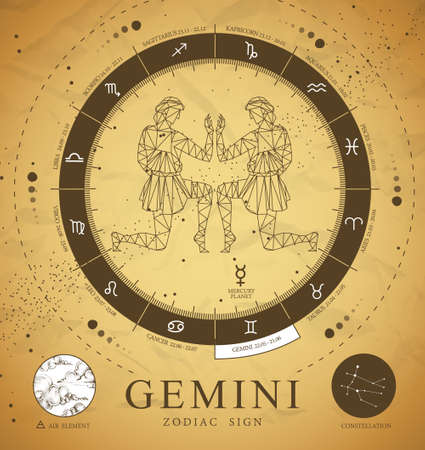 Vintage magic witchcraft card with astrology Gemini zodiac sign. Polygonal men figure illustration. Zodiac characteristic