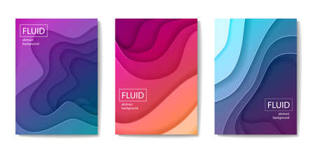 Set of modern abstract fluid banners, posters or flyers. Cut out peper art style design Illustration