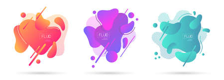 Set of abstract modern graphic elements. Fluid abstract geometric background. Dynamic colorful forms