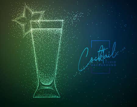Neon fluid cocktail vector illustration. Fluid background. Absinthe cocktail Vettoriali