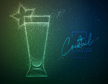 Neon fluid cocktail vector illustration. Fluid background. Absinthe cocktail Vektoros illusztráció