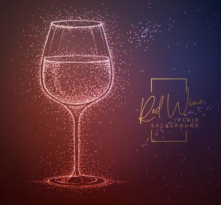 Neon fluid wine glass vector illustration. Fluid background.