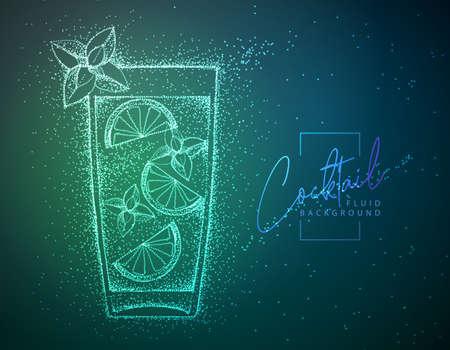 Neon fluid cocktail vector illustration. Fluid background. Moito cocktail