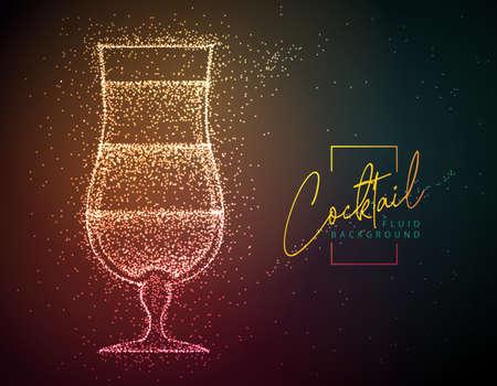 Neon fluid cocktail vector illustration. Fluid background. Tequila sunrise cocktail Illustration