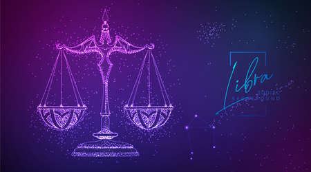 Neon modern fluid background with astrology Libra zodiac sign. Vector illustration