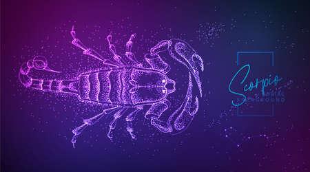 Neon modern fluid background with astrology Scorpio zodiac sign. Vector illustration