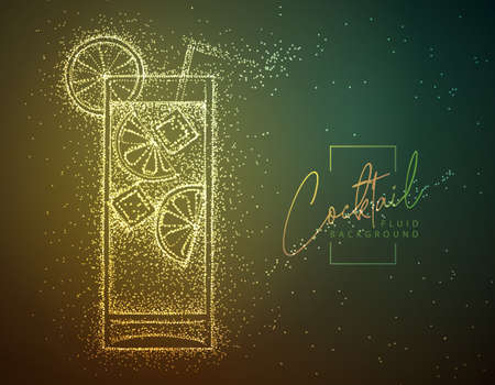Neon fluid cocktail vector illustration. Fluid background. Long Island ice tea cocktail