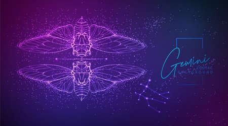 Neon modern fluid background with astrology Gemini zodiac sign. Vector illustration