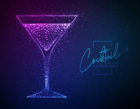 Neon fluid cocktail vector illustration. Fluid background. Cosmopolitan cocktail