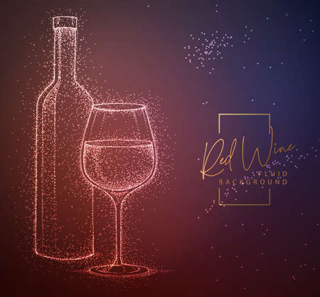 Neon fluid wine glass and bottle vector illustration. Fluid background.