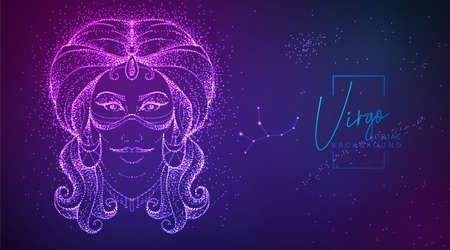 Neon modern fluid background with astrology Virgo zodiac sign. Vector illustration