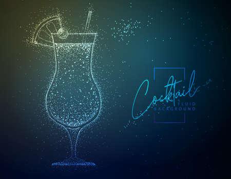 Neon fluid cocktail vector illustration. Fluid background.