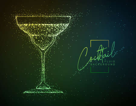 Neon fluid cocktail vector illustration. Fluid background. Margarita cocktail